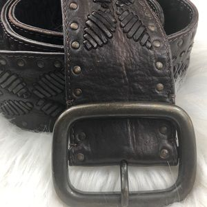 Euc J.Jill wide leather boho studded floral belt M